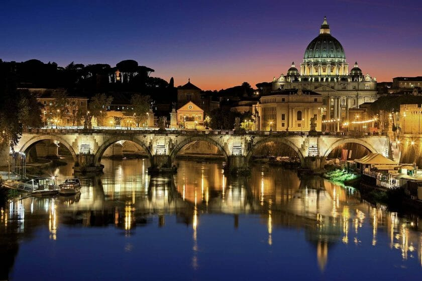 Night view of St. Peter's Basilica