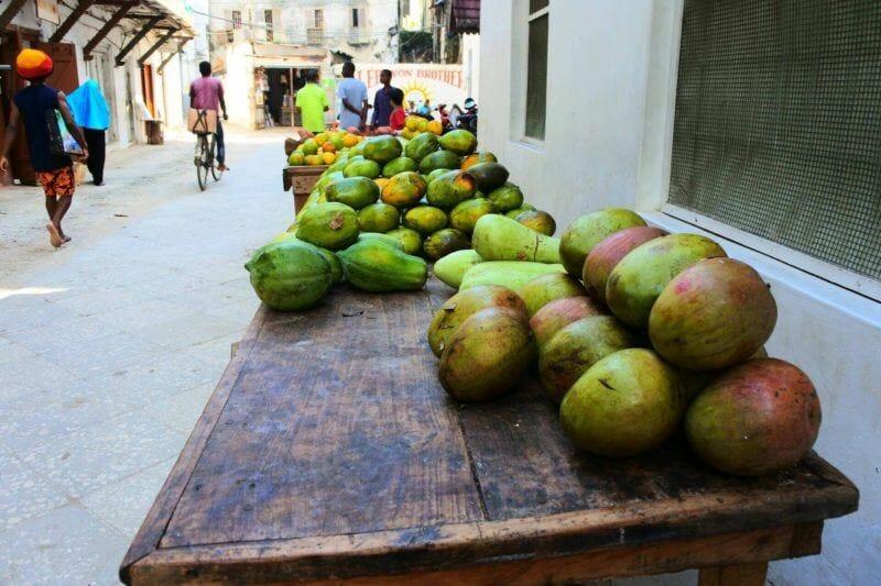 fresh mango and papaya