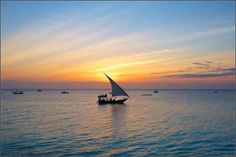 sunset sailing in Zanzibar